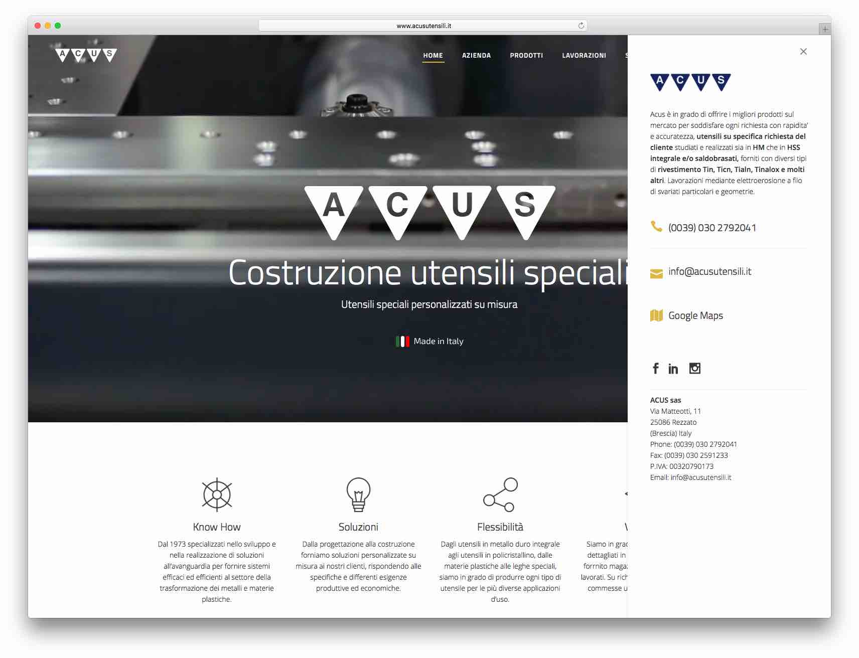 creazione siti web brescia - sito web acus utensili