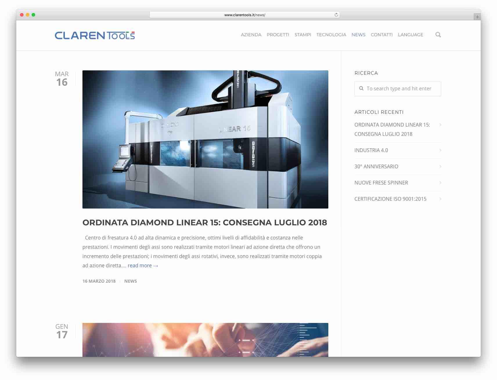 creazione siti web Brescia - sito web Claren Tools