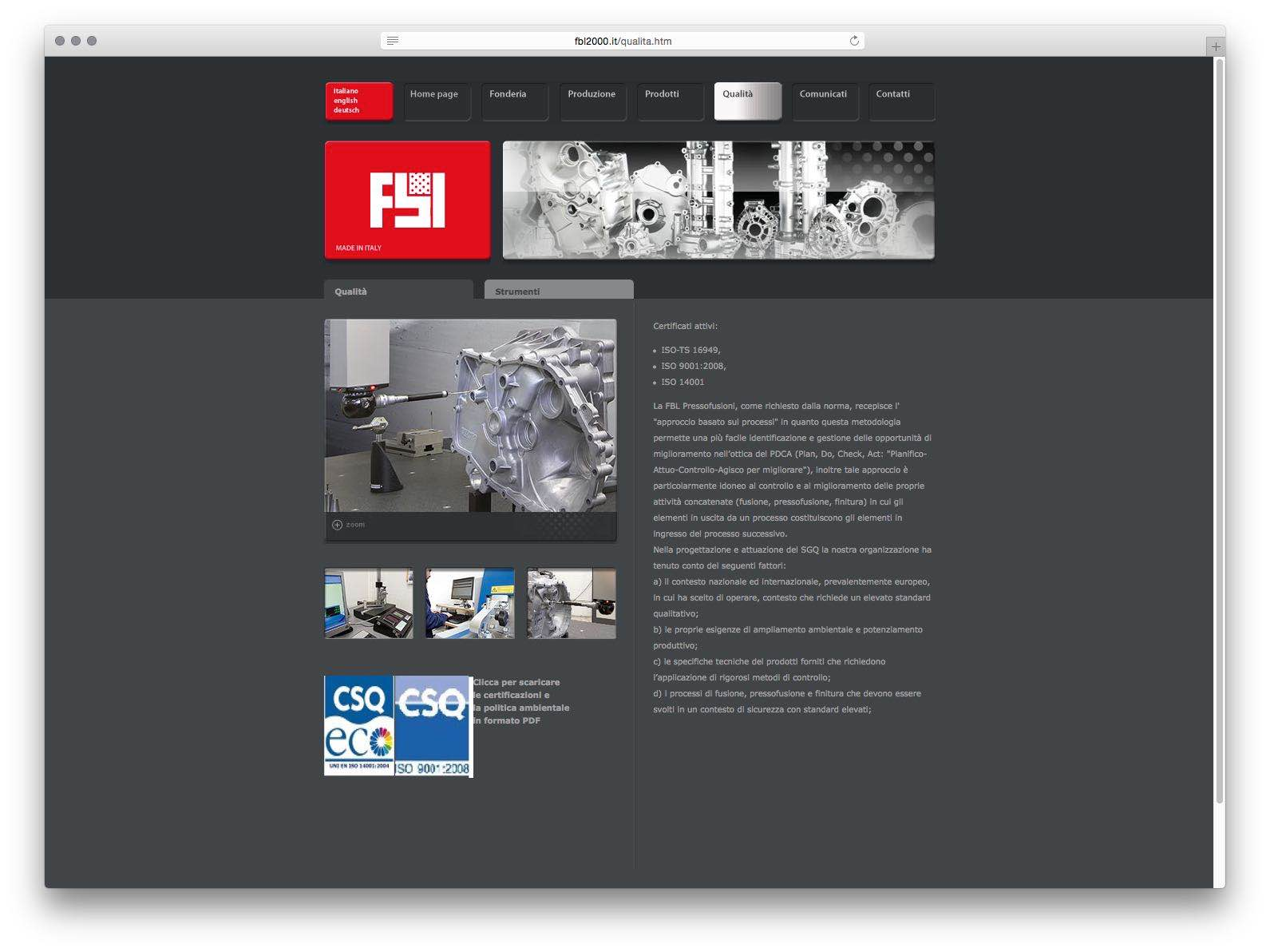 Creazione Siti Web Brescia - Sito Web FBL Pressofusioni