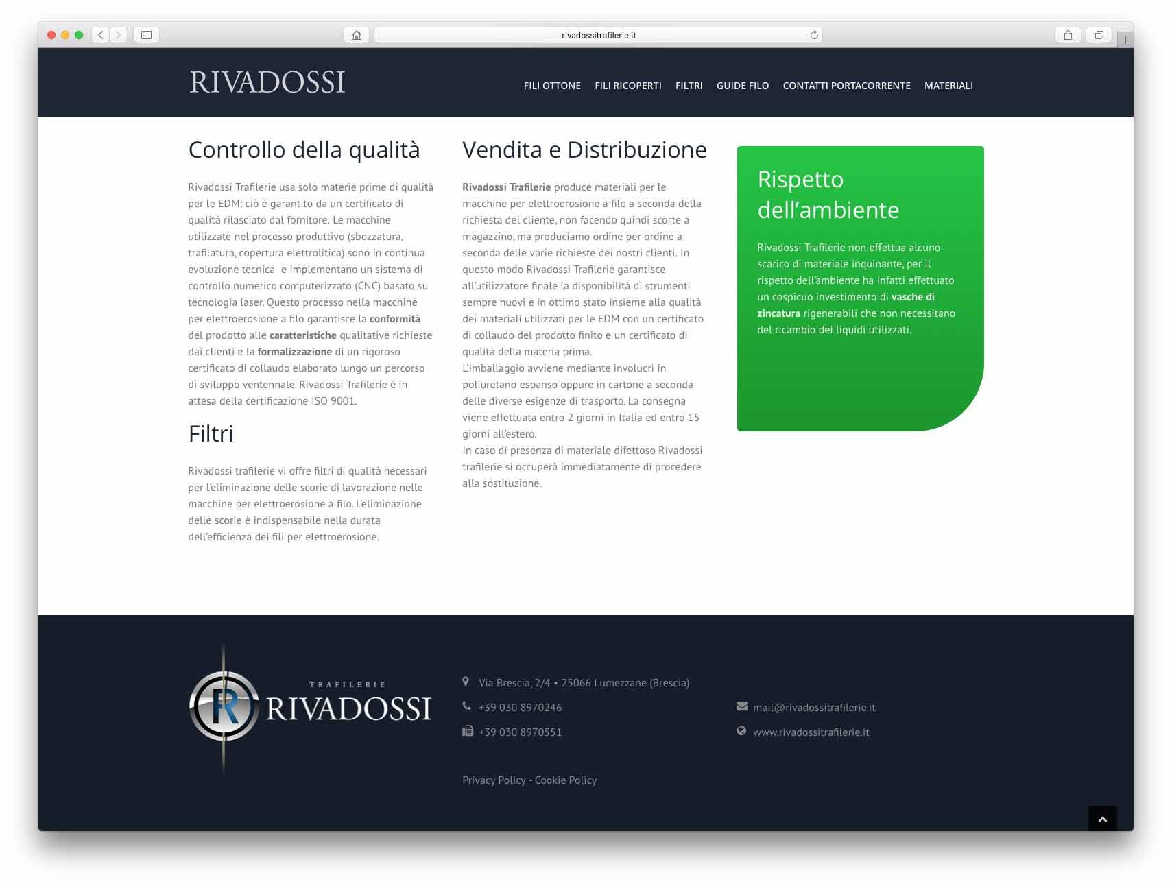 Creazione Siti Web Brescia - Sito Web Rivadossi Trafilerie