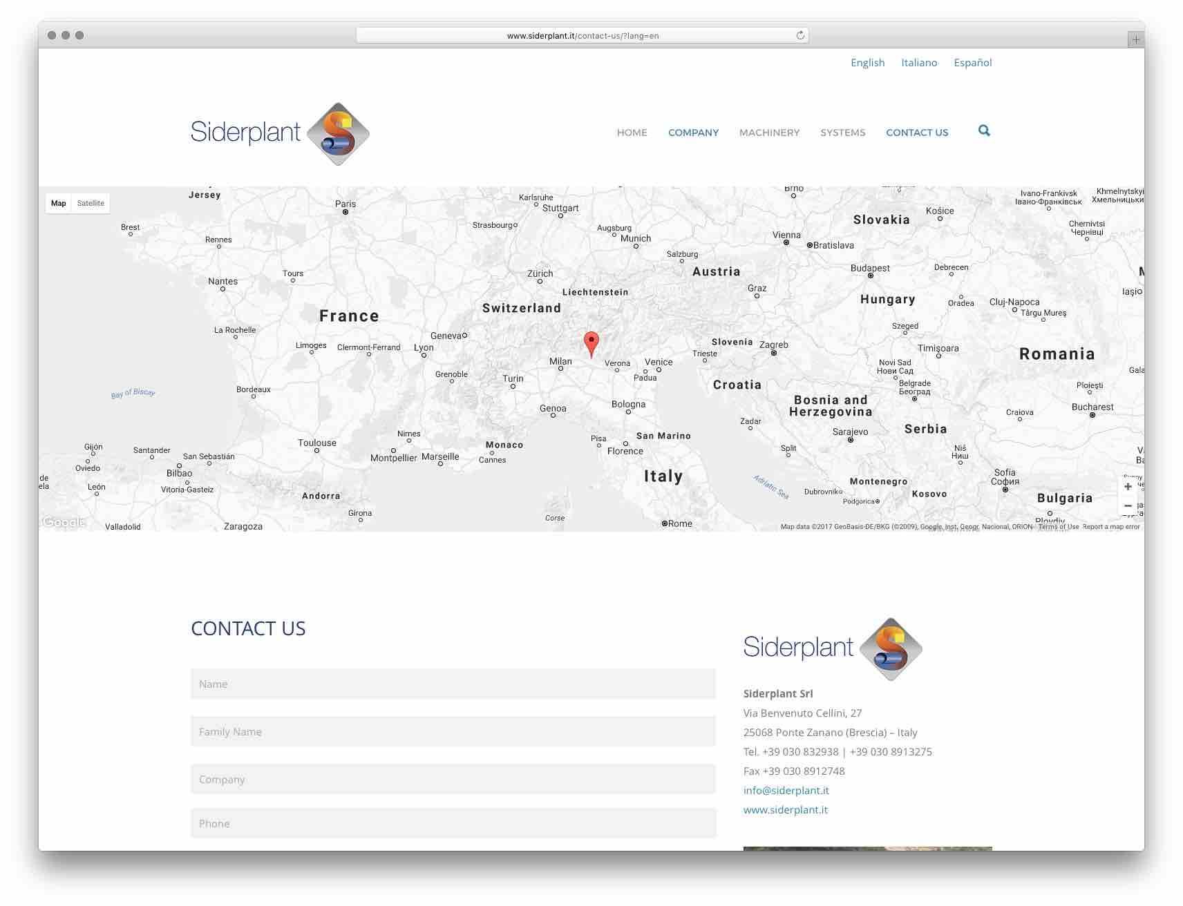 creazione siti web brescia - sito web siderplant