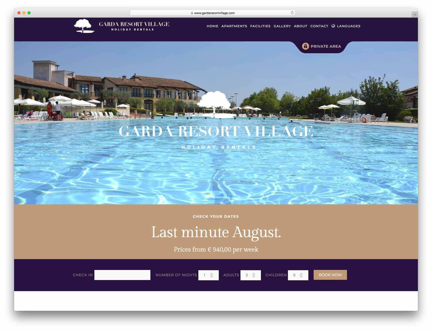 creazione siti web brescia - sito web garda resort village
