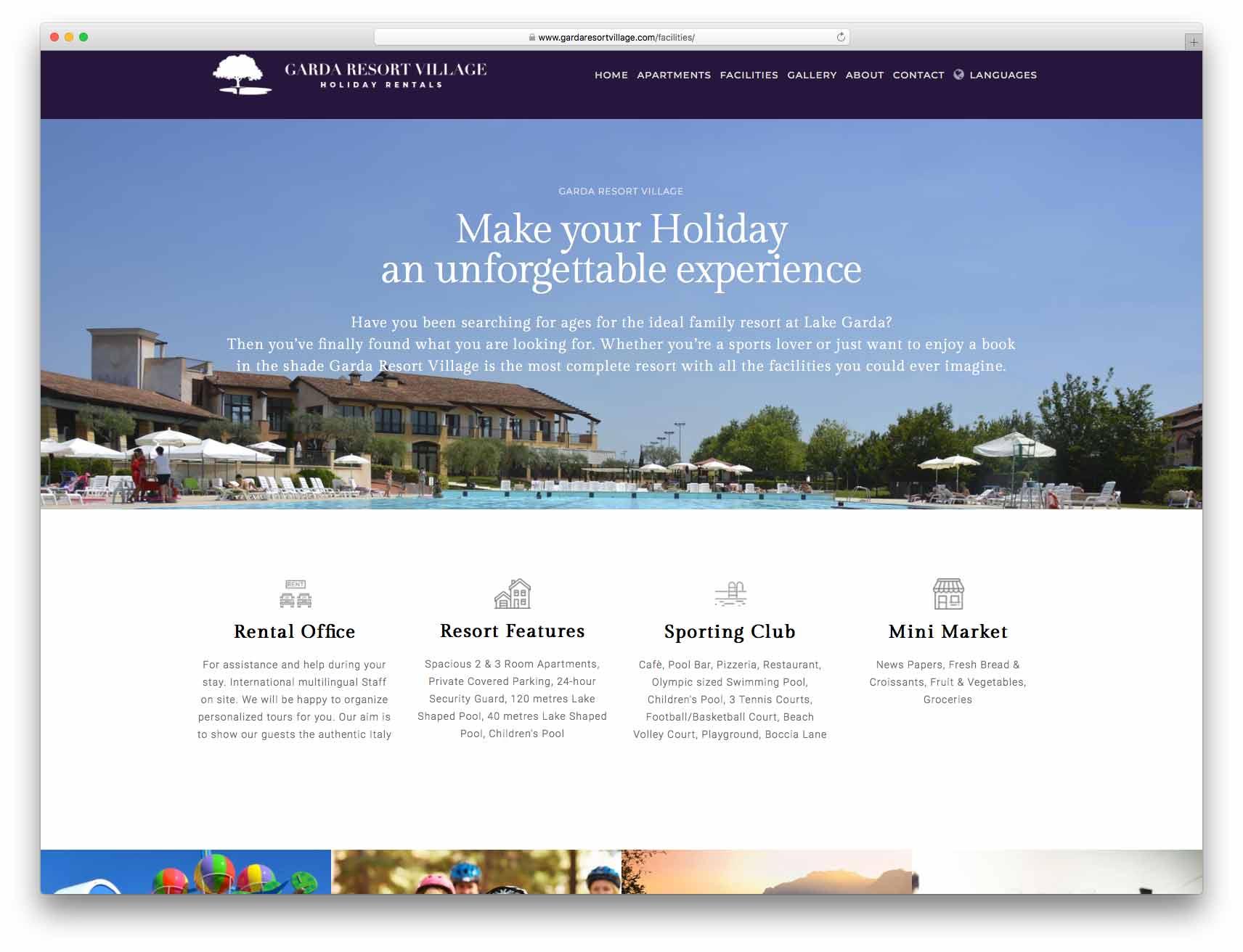 creazione siti web brescia - Agenzia P - sito web garda resort village