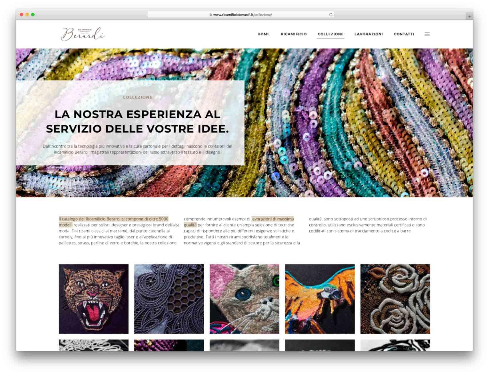 creazione siti web brescia - Agenzia P - sito web Ricamificio Berardi