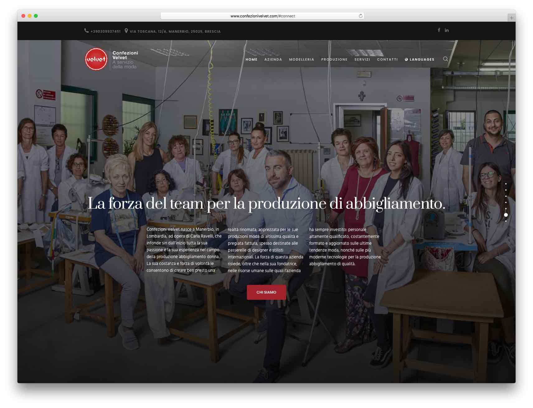 creazione siti web brescia - Agenzia P - sito web Confezioni Velvet