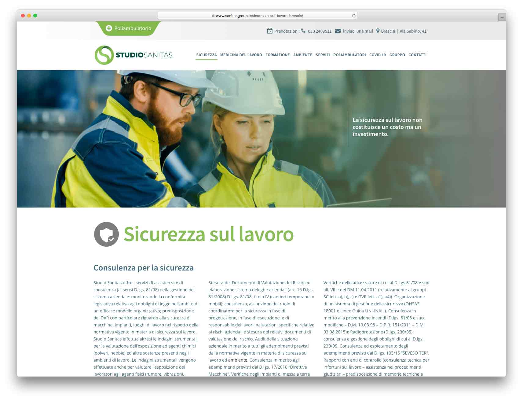 creazione siti web brescia - Agenzia P - sito web Gruppo Sanitas