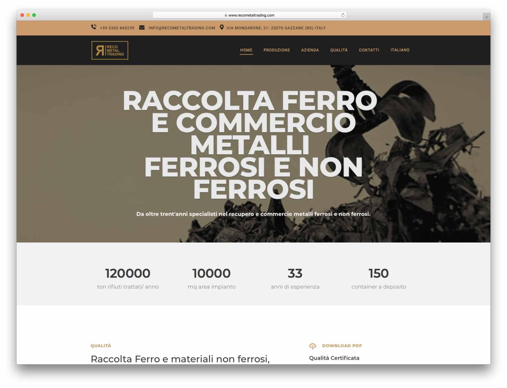 creazione siti web brescia - Agenzia P - sito web Reco Metal Trading