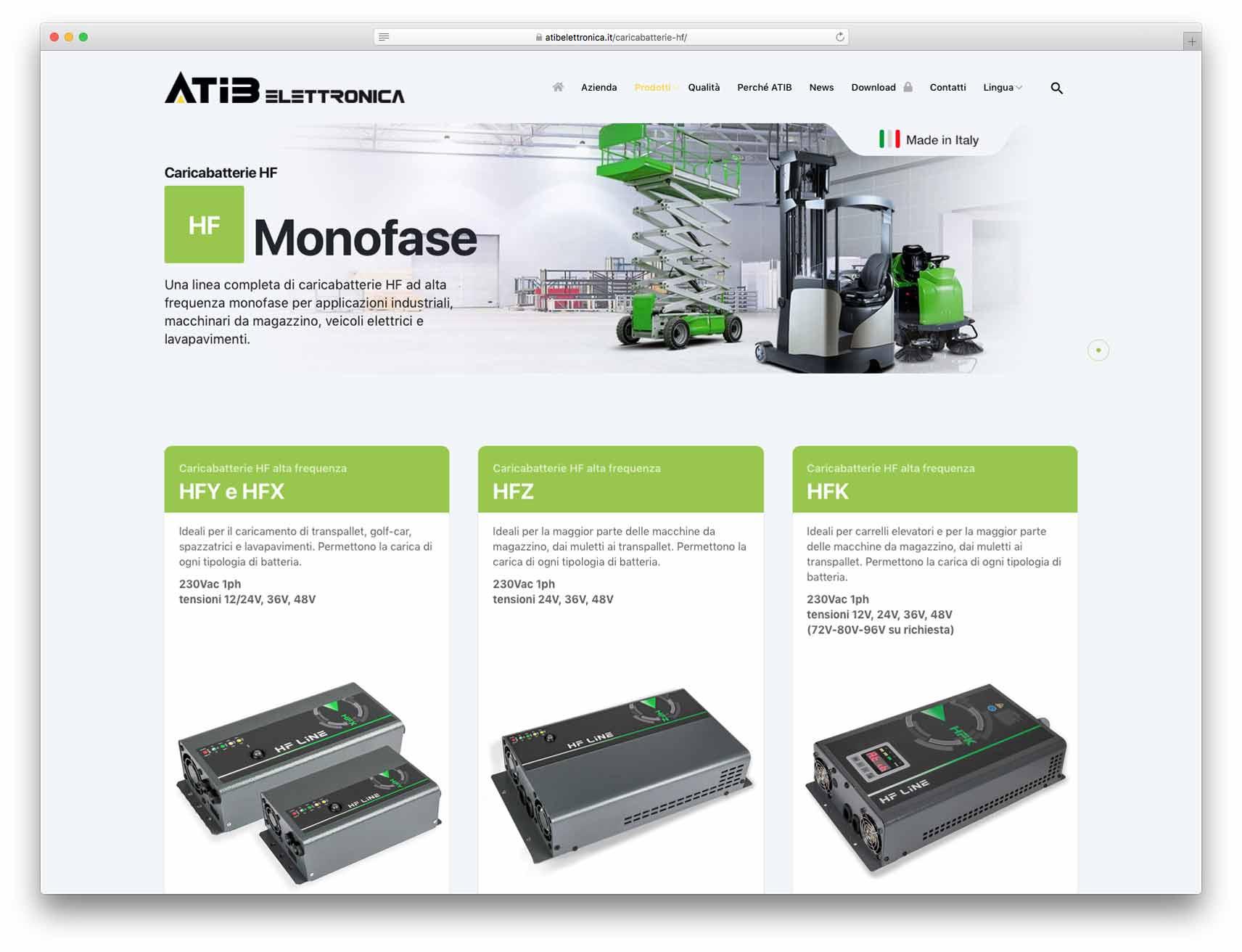 creazione siti web brescia - Agenzia P - sito web Atib Elettronica